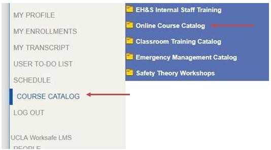 Image of navigation showing Online Course Catalog