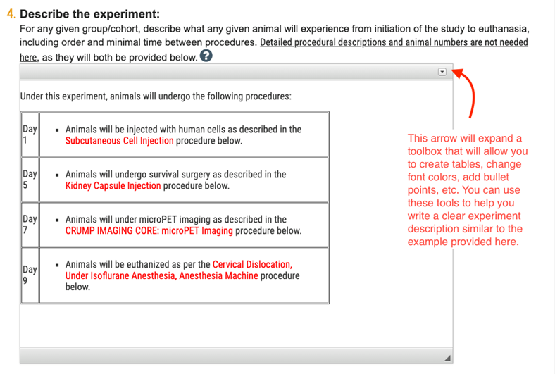 Screenshot of Referenced Procedures