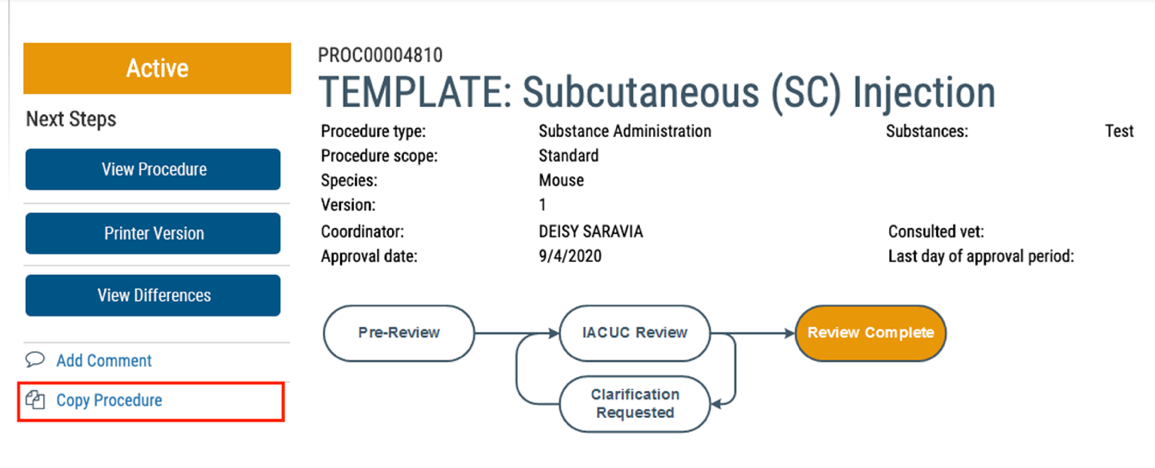 Screenshot for RATS Quick Tip: Standard Substance Administration Template Procedures